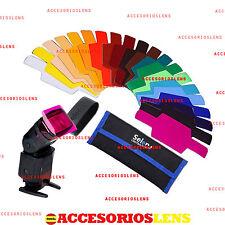 Kit filters SELENS,20 COLOURS Strobist para Nikon flashes,Canon,Yongnuo,SE-CG20