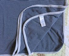 Precious Firsts Carter's One Ply Cotton Dark Blue Stripes Gray Baby Boy Blanket