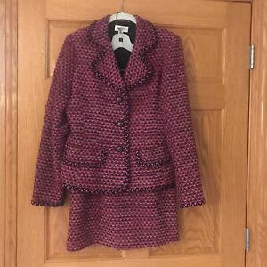 Talbots Suit Jacket Skirt Pink Tweed Black 10