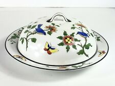 NIPPON CHINA Floral Birds Hand Painted Covered Cheese Butter Dish Plate Vintage