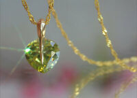 Sparkling Heart Cut Created Peridot Pendant + Necklace