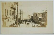 RPPC Snow Covered Fire Scene ALBANY NY c1907 Hoses Wagons Bystanders Postcard P9