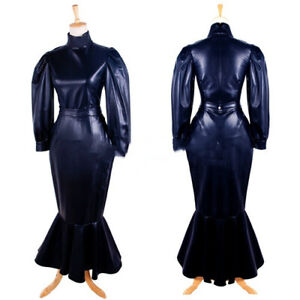 Faux Leather Dress Sissy Maid Cosplay Costume Tailored