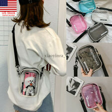 US Women Girls Clear Crossbody Bag PVC Transparent Handbag Casual Shoulder Bags