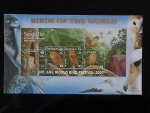 SEYCHELLES 2001 BIRDS - SCOPS OWL 5v MS BENHAM FIRST DAY COVER SGMS915