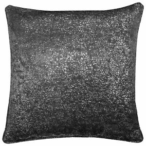 """2 X SILVER GLITTERED SPARKLE CHARCOAL VELVET LOOK 18"""" CUSHIONS FILLED £18.99"""