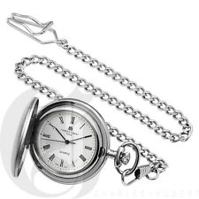 CHARLES HUBERT MATTE SILVER POCKET WATCH #3611 LIFETIME WARRANTY $104.95 RETAIL
