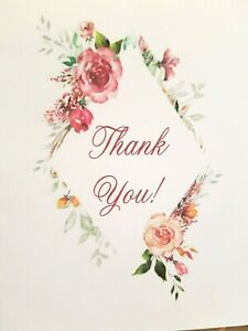 """KITTY'S NOTE CARDS - Set of 10 + Envelopes - """"Floral Thank You Diamond"""""""