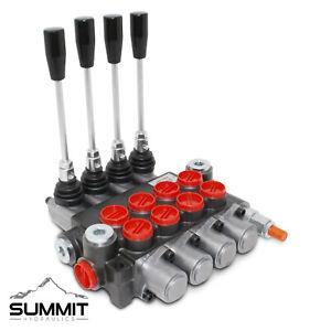 4 Spool Hydraulic Monoblock Double Acting Control Valve, 11 GPM, SAE Ports