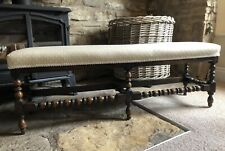 More details for antique bobbin turned beech duet stool