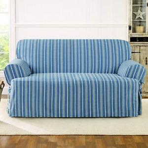 New Sure fit sofa slip cover slipcover Grain sack t cushion Navy seaside stripe