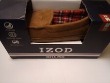 IZOD Men's Slippers Shoes Moccasins Tan  Microsuede Size M (8-9)