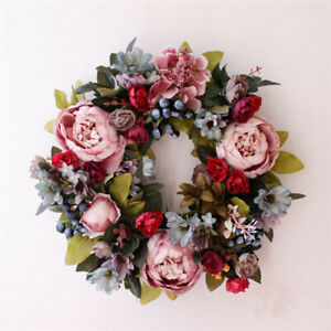 Artificial Peony Wreath Flower Wreath 35cm Door Wreath Spring Round Wreath