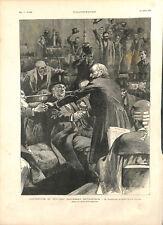 Londres ouverture Parlement britannique par William Ewart Gladstone GRAVURE 1892