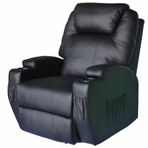 Luxury Thick Leather Cinema Massage Swivel Heated Nursing Recliner Chair Black