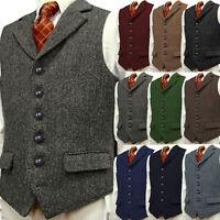 Retro Mens Tweed Waistcoat Vest Vintage Notch Lapel Herringbone Black S-XL-3XL++