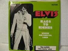 Elvis 45rpm Rags to Riches/Where Did They Go Lord 1971 RCA 47-9980 NM