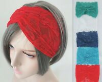 Women Lace BOHO 80' 70' Floral Wide Bandana look Hair Wrap Head band headband