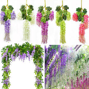 12Pcs Garland Silk Artificial Hanging Wisteria Flowers Vine Wedding Home Decor