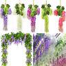 12Pcs Garland Silk Artificial Hanging Wisteria Flowers Vine Wedding Home Decor