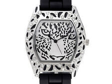White Crystal Silver Tone Leopard Face Ladies Watch