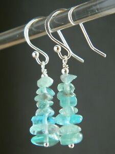 Sky Blue APATITE Natural Crystal Gemstones Chips & 925 Sterling Silver Earrings