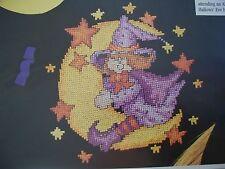 Hallowen Fun Folk Witch On Moon OOP Cross Stitch PATTERN (W)