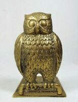 """Vintage Brass Single Owl Bookend Statue Paperweight Figurine Home Decor 5 1/8"""" H"""