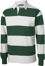 PEACHES NEW Men's STRIPE, Long Sleeve, RUGBY SHIRTS, Sport Polo, S-XL 2XL 3X 4X