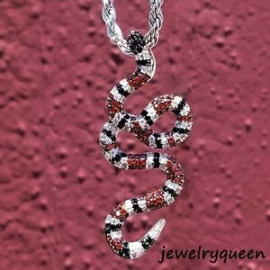 14K Silver Plated King gucci-Snake Red Black  Diamond Pendant Hip Hop