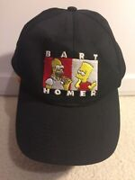 1990 The Simpsons Bart & Homer Simpson Donuts Embroidered Vtg Strap Back Hat Cap