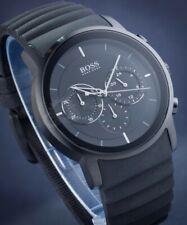 Hugo Boss HB 1512639 All Black Modern Chronograph Rubber Band Mens Wrist Watch