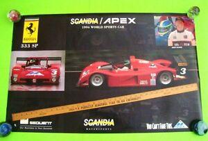 "scarce 1994 FERRARI 333 SP SCANDIA / APEX 38"" X 24"" AUTO RACE POSTER Andy Evans"