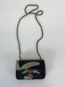 Rare Vtg Chanel Black Satin Mini Flap Bag