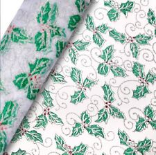 WIDE CHRISTMAS ORGANZA HOLLY SILVER & GREEN ROLL 850mm x 10M SILVER GREEN