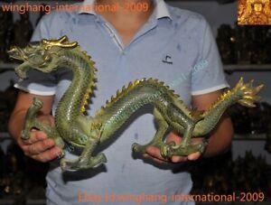 Big Chinese China Feng Shui Bronze Gilt lucky wealth zodiac animal Dragon statue