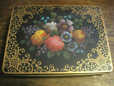VTG Tin Black & Floral Made In England For SEWING/KEEPSAKES HINGED RECTANGLE BOX