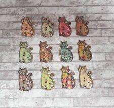 6 Wooden Cat Buttons, 30mm x 19mm, Cat Shaped Buttons, Wooden Buttons, 2 Hole