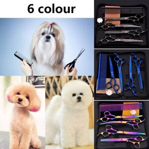 "7"" Professional Pet Dog Cat Grooming Scissors Kit Cutting Curved Thinning Shears"