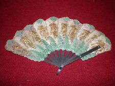 Antique Vintage Javanese Water Buffalo Hand Fan Gilded Puppets from Indonesia