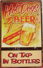 Hot Dog and Beer Bar/Restaurant Diner Advertisement Rustic/Vintage Metal Sign