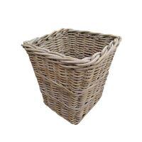 Wicker Grey & Buff Square Rattan Wicker Waste Paper Basket / Bin