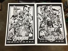Avengers & Guardians Screen Print Posters Black Line Art by Alexander Iaccarino