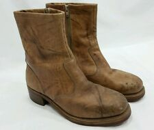 Vintage Goodyear Brown Leather Trucker Zipper Boots Motorcycle Riding 9.5 D LOOK