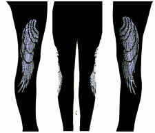 Plus FL Yoga Leggings Embellished Black & Crystal Rhinestone Angel Wings