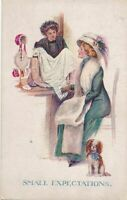 Sherie Signed Small Expectations Women and Dog Postcard