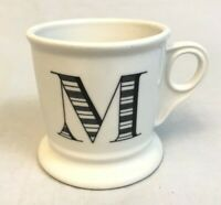Coffee Mug Cup Black Letter M Anthropologie Initial Monogram White Shaving Mug