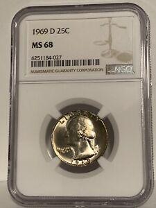 1969-D Washington Quarter NGC MS 68 * WOW! Price Guide $2,600 *