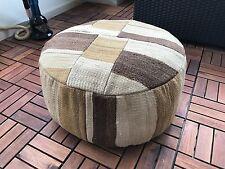 Vintage Turkish Kilim Floor Cushion Rug Pouffe 55x55x25cm Multicolor Patchwork