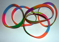 JOB LOT (L) - 12mm WRISTBANDS, MULTICOLOURED -  (pack of 5)
